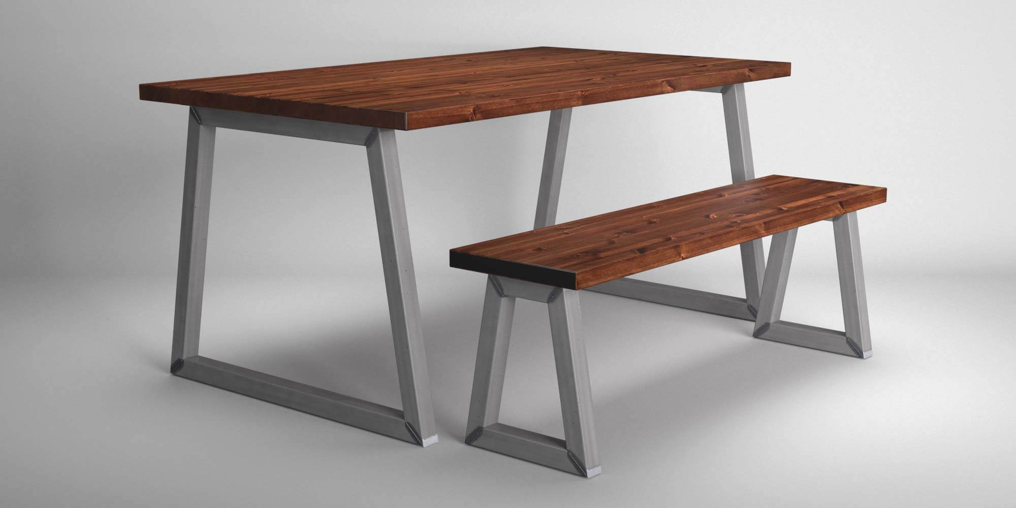 Industrial-Style-Steel-Trapesium-Leg-Dining-Table-and-Bench-Set_1