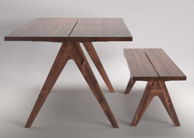 Trestle Dining Table and Bench Set