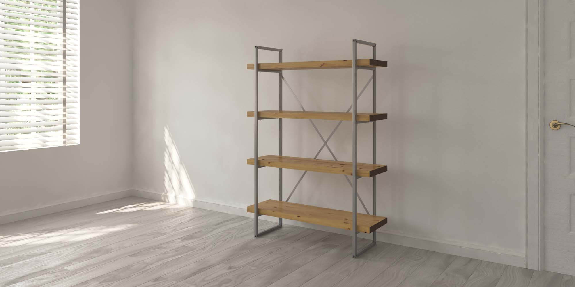 4 Shelf 40mm Oak Single Room
