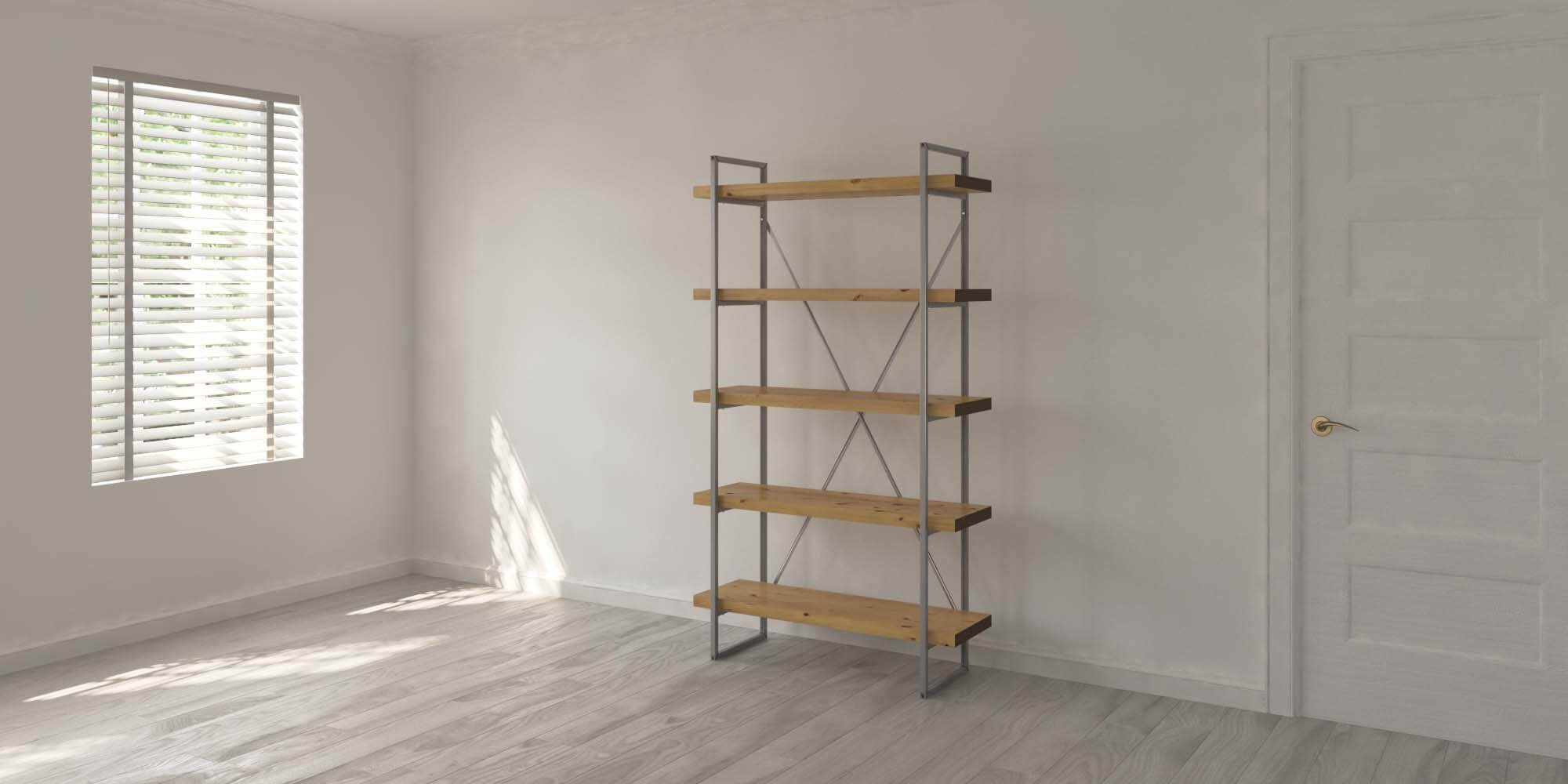 5 Shelf 40mm Oak Single Room